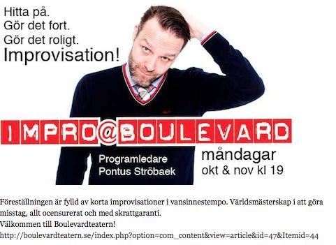 Aktör medverkar på två olika teaterscener under hösten 2012, Friteatern och Boulevardteatern